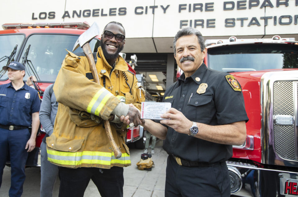 HEAVYWEIGHT WORLD CHAMPION DEONTAY WILDER & LINEAL CHAMPION TYSON FURY THANK SOUTHERN CALIFORNIA FIREFIGHTERS BY INVITING THEM TO SATURDAY'S WORLD TITLE FIGHT AT STAPLES CENTER